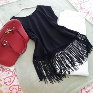 Black tunic top with fringe, NWOT